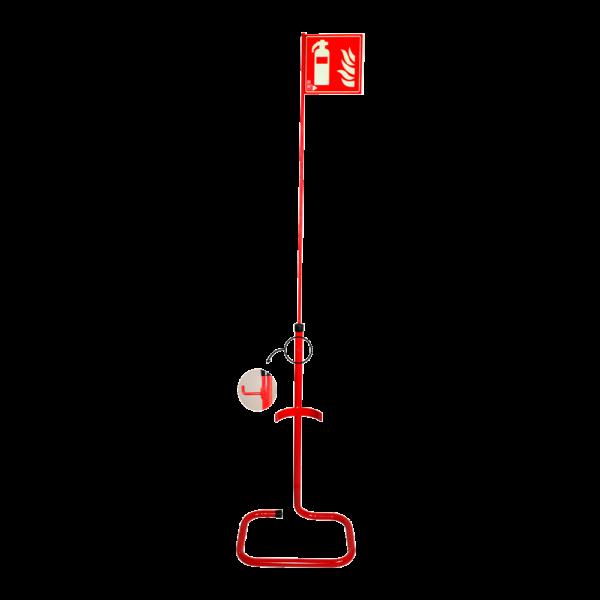 Soporte de suelo con banderola para extintores de CO2
