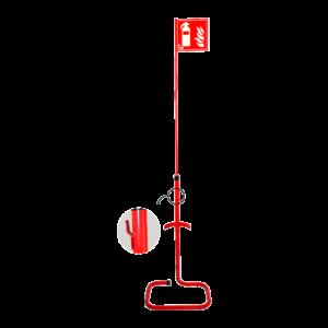 Soporte de suelo con banderola para extintores de polvo ABC