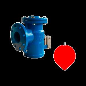 Válvula angular de flotador con boya de PVC
