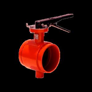 Válvula ranurada con palanca de color roja