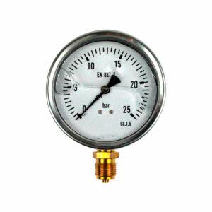 Manómetro de glicerina con caja de INOX
